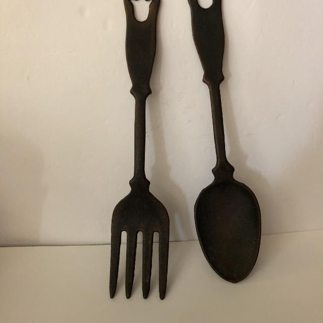 Find more Vintage Cast Iron Fork And Spoon Wall Decoration for sale ...