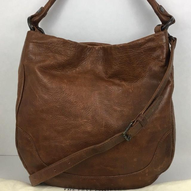 3ea9352c6cd Find more Frye Melissa Hobo Cognac Brown Pebbled Textured Leather ...