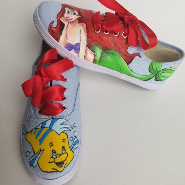f6cd450e89b32 Hand painted little mermaid shoes