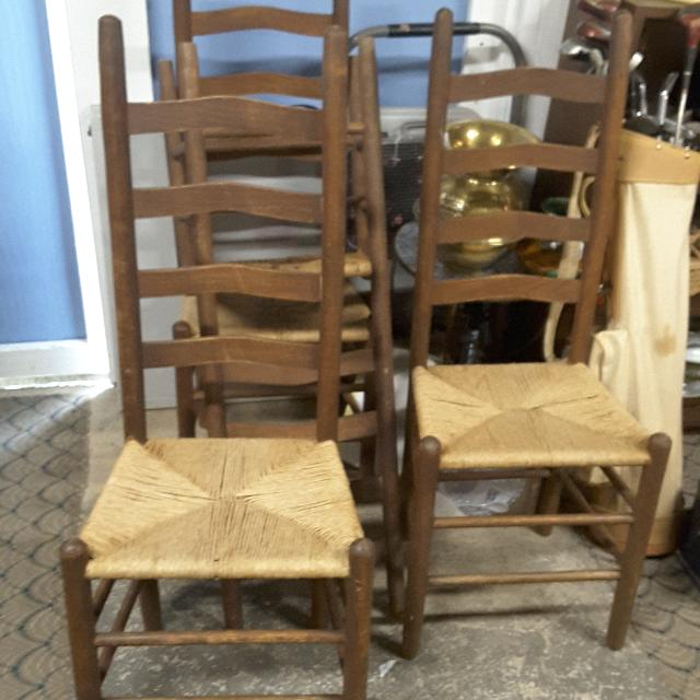 Set Of 4 Vintage Ladder Back Cane Bottom Dining Chairs
