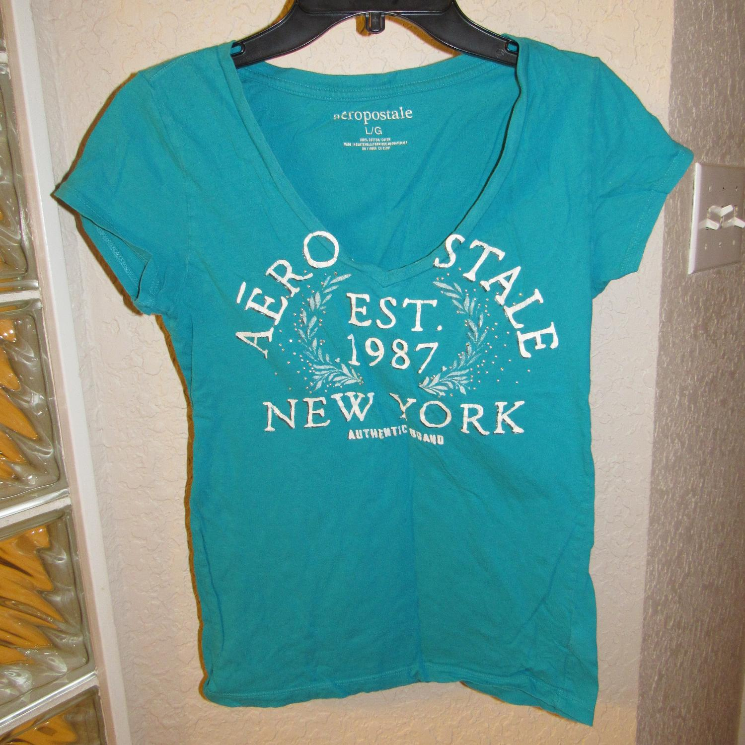 56c93c56 Best Aeropostale Women's T-shirt * Size Large L * Turquoise for sale ...