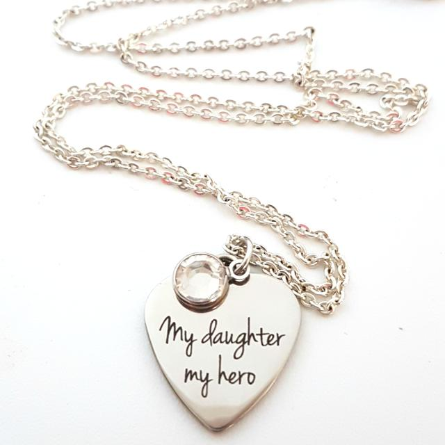 Best My Daughter My Hero Laser Etched Necklace For Sale In