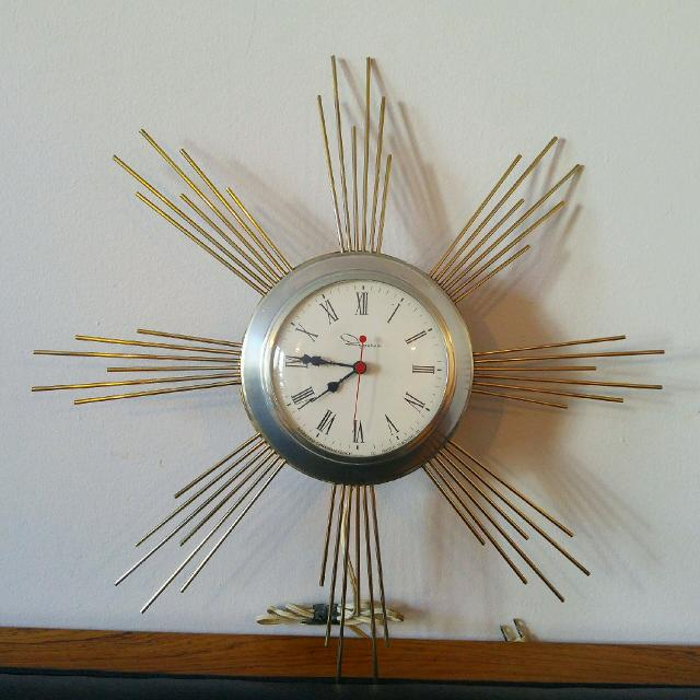 Vintage Atomic Starburst Wall Clock Ingram Midcentury Decor