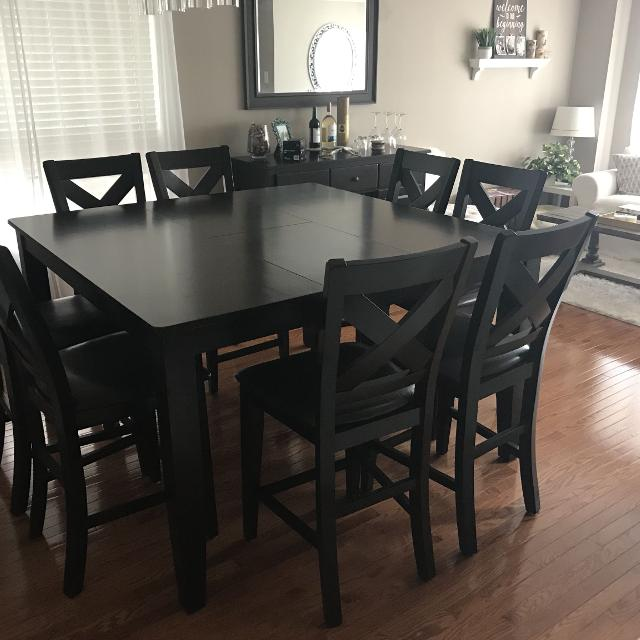 Dining Room Set Pub Style Table 8 Chairs Matching Buffet Server