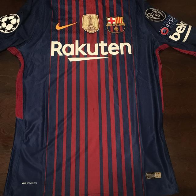 new concept ab7ac 7c34a Player Version 2017/18 Barcelona Home Red Blue Soccer Jersey With Patches  Fifa+5Cup+Respect+Champion