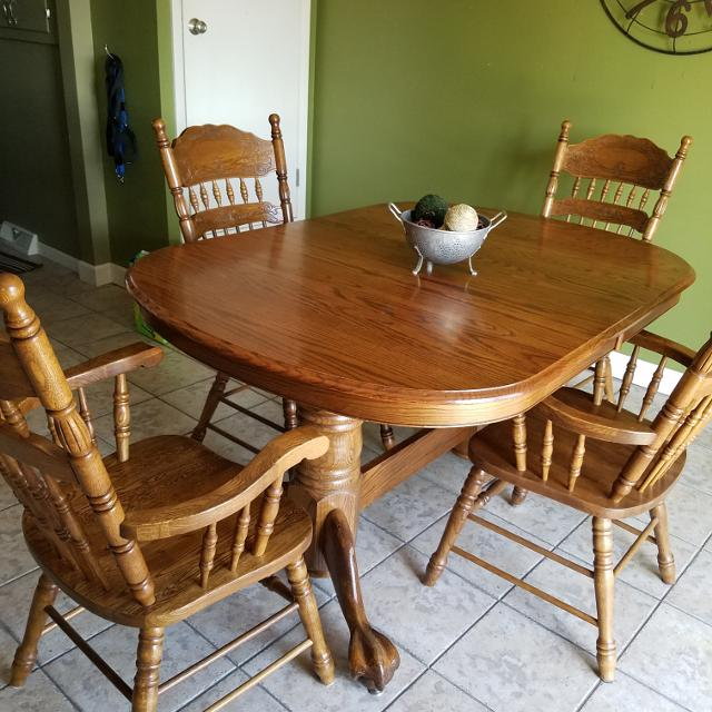 Kitchen Table With 6 Chairs: Find More Solid Oak Kitchen Table, 6 Captains Chairs, 2