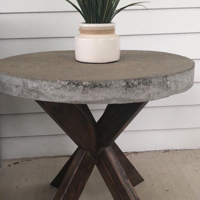 Best X Brace Cement Top Indoor Outdoor Side Table For Sale In - Outdoor cement side table