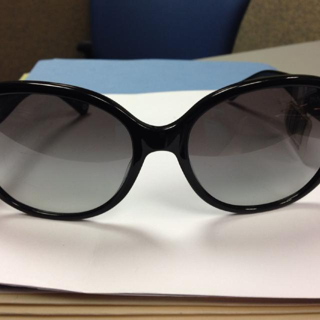 f0d413f8f65 Best Coach Sunglasses New W tag. Coach Model Hc8051 Claire Black Frame With  Gold silver Heart Emblem On Side