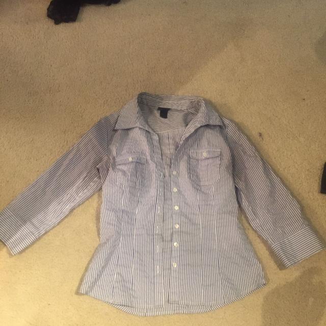 831fda90287 H&M blue and white striped dress shirt