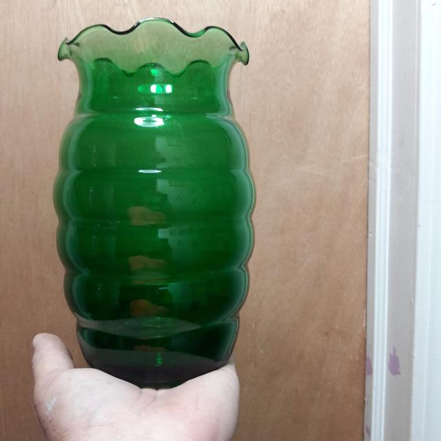 Find More Final Price Green Glass Vase With Curvy Top For Sale At