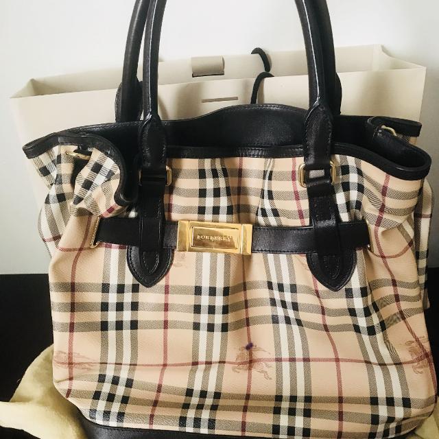 64db1c3f66ec Best Burberry  golderton  Medium Haymarket Leather Trim Tote Bag for sale  in Calgary
