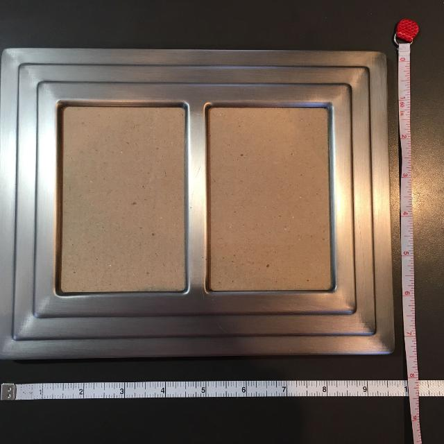 """Picture frame, brushed silver colour, holds two 3X4 5"""" pics"""