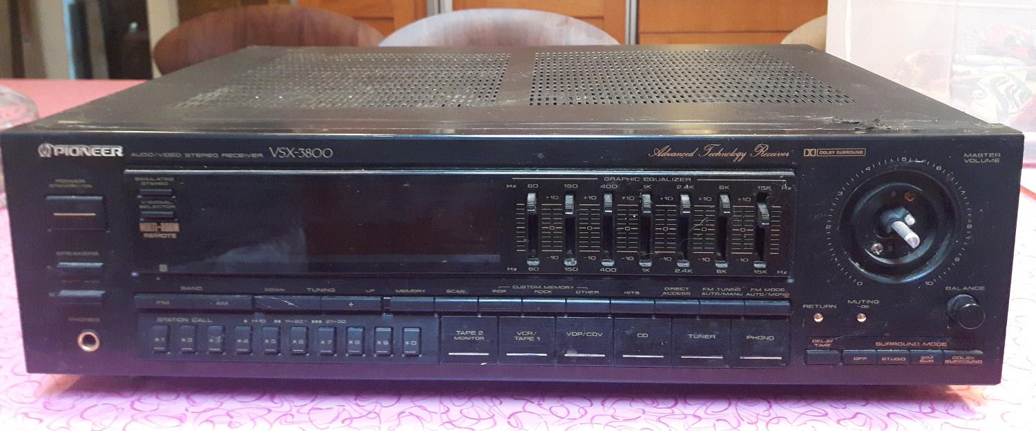 Pioneer Audio Video Home Stereo Receiver - Model VSX-3800 - Works perfect,  missing 1 back foot & master volume knob - $60 00 - Gibsons