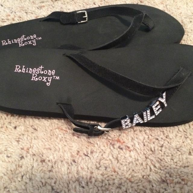 708261ba96892 Find more Personalized Rhinestone Roxy Flip Flops for sale at up to ...