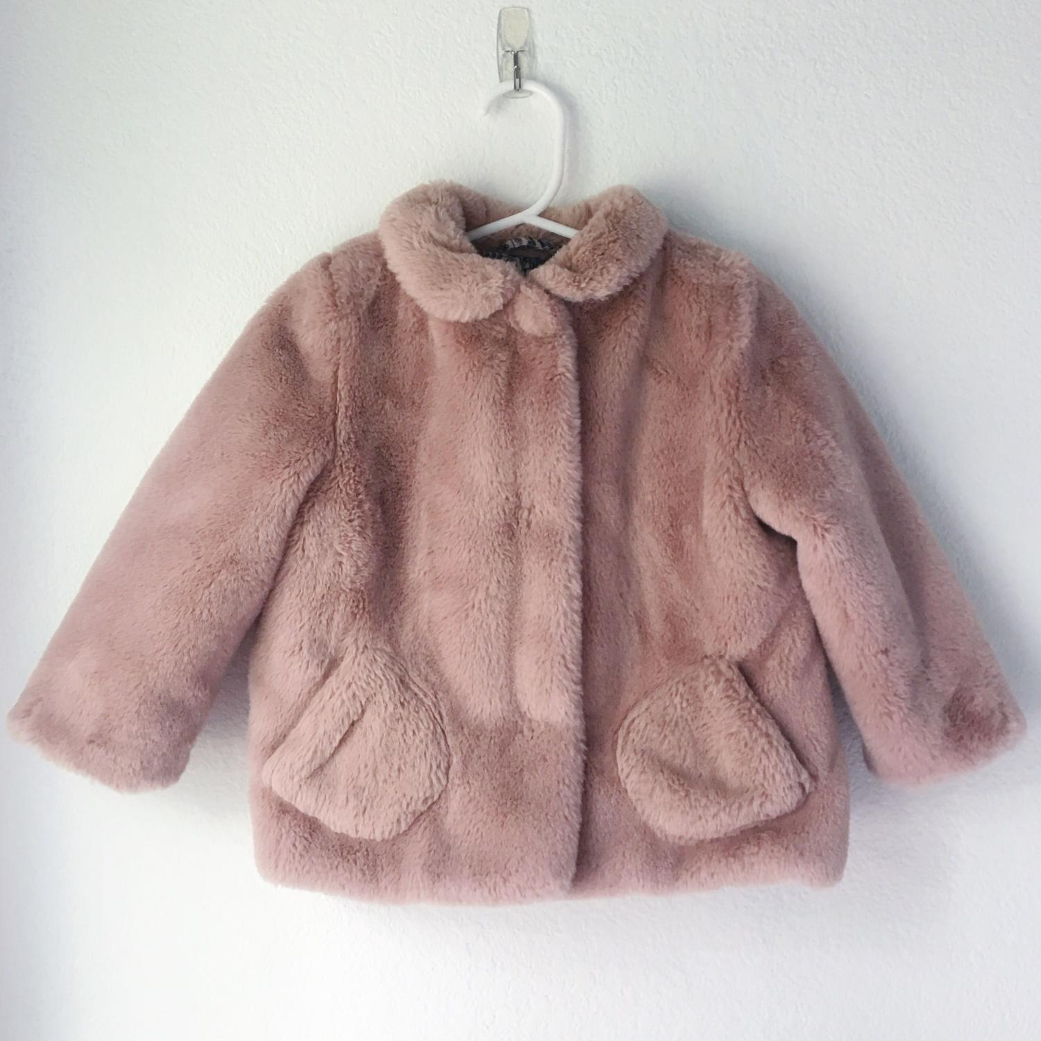 879524bc Best Euc Zara Baby Girl Faux Fur Pink Collar Coat Jacket 18-24m for ...