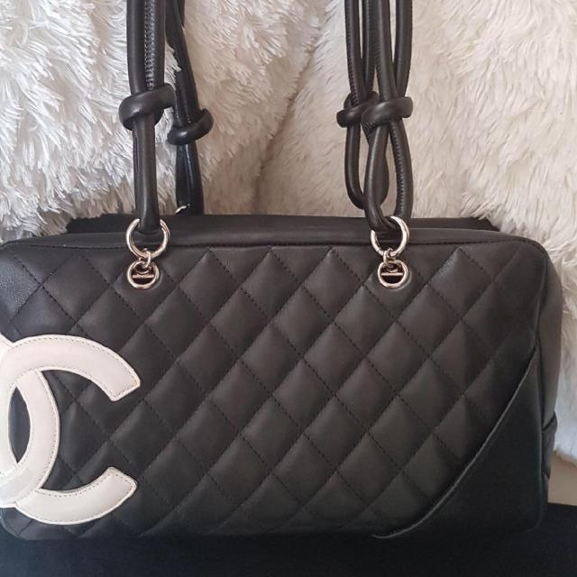 99857555fa44 Find more Authentic Chanel Black Quilted Leather Cambon Ligne Bowler ...