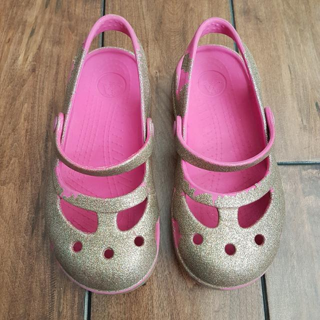 b8a76c72f8 CROCS - Girls Silver & Pink Sparkle/Glitter Mary Jane Shoes - Size 11
