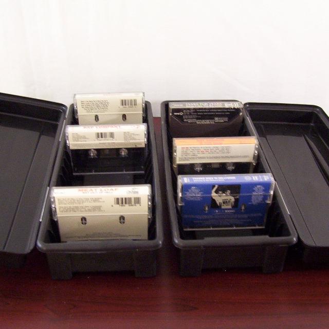 2 BLACK PLASTIC CASSETTE TAPE STORAGE CASES