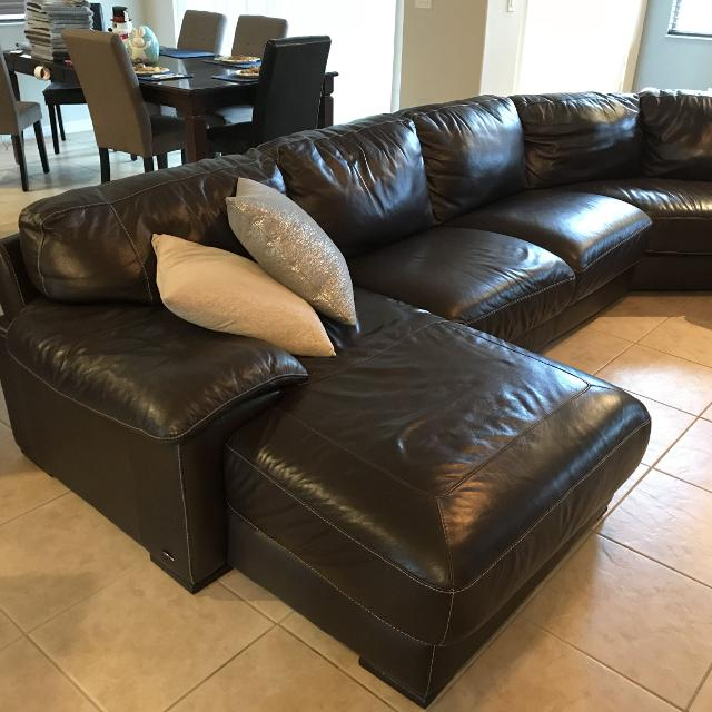 Cindy Crawford Leather Sectional Couch Brown Soft