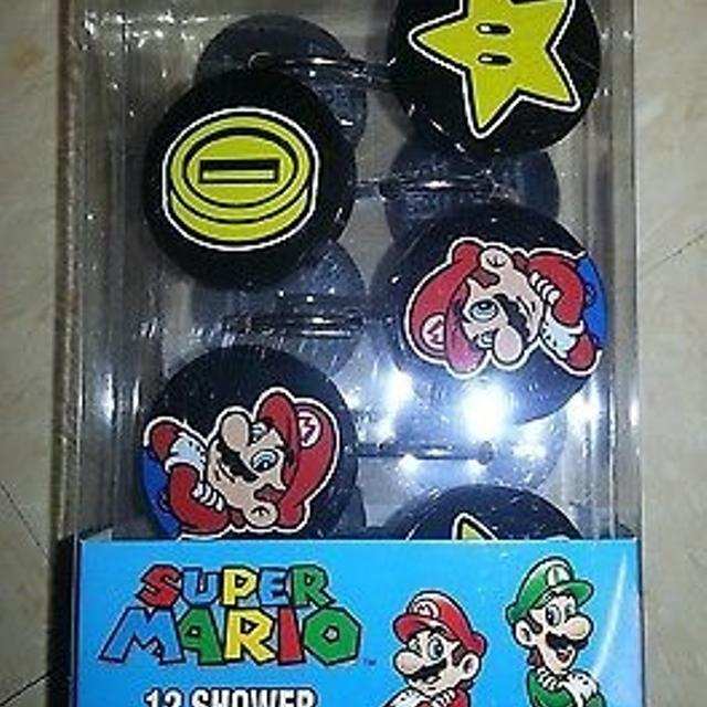 Licensed Super Mario Shower Curtain Rings Complete Set Not In Box