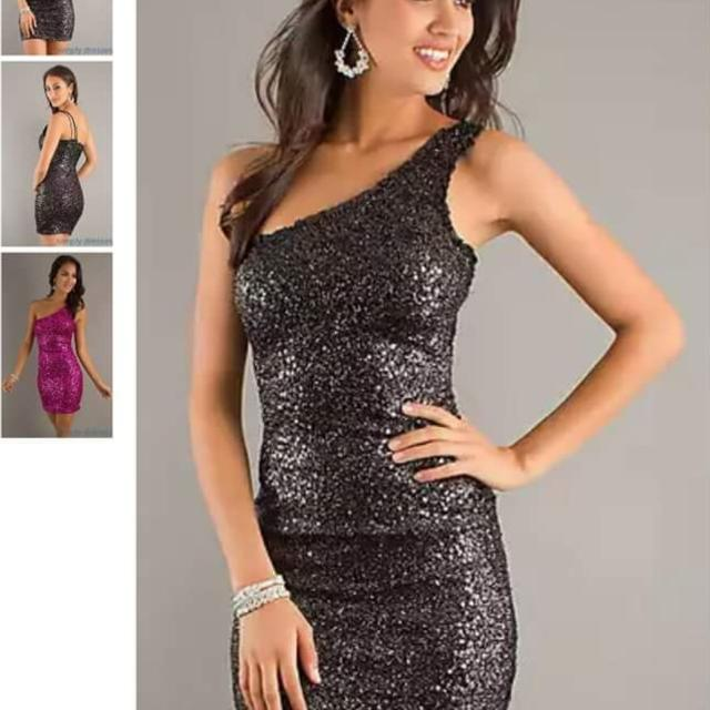 a7ab91027b2143 Best Black Sequin One Shoulder Short Dress - Size  Large for sale in  Peoria