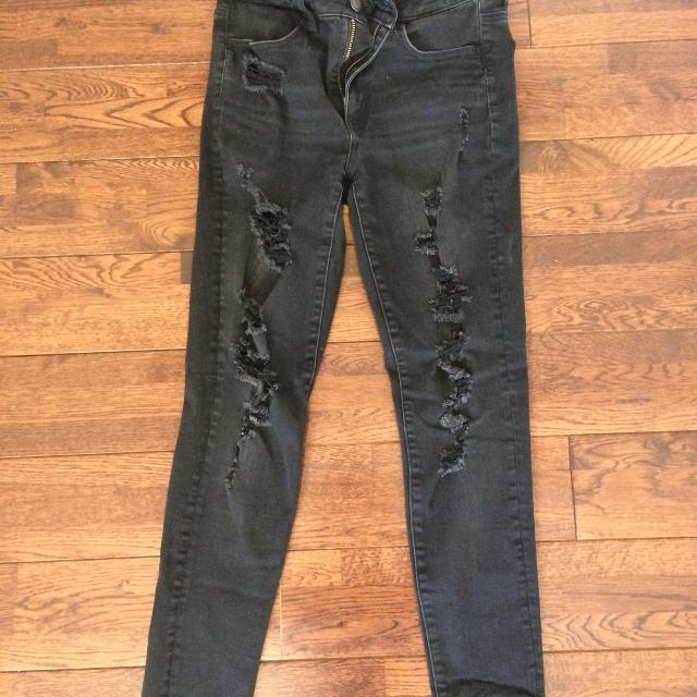 fa3a1b285b17c Find more American Eagle Distressed Black Leggings Sz. 8 for sale at ...