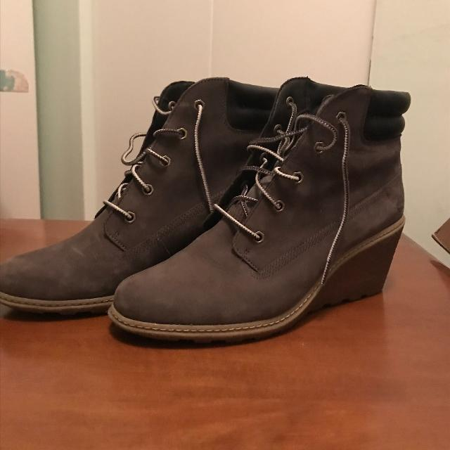 e779cb78585f Find more Timberland Grey Suede Wedge Booties for sale at up to 90 ...