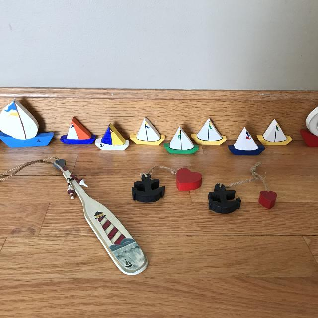 Lot Of 13 Wooden Nautical Decor Items