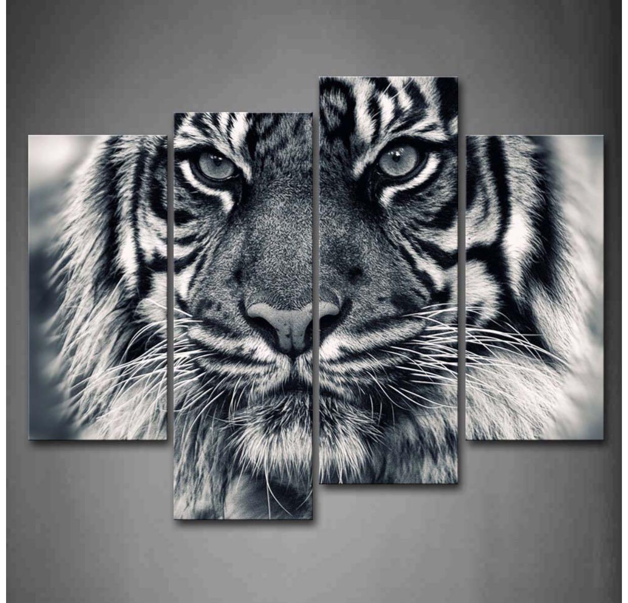 Black and white tiger canvas print wall art