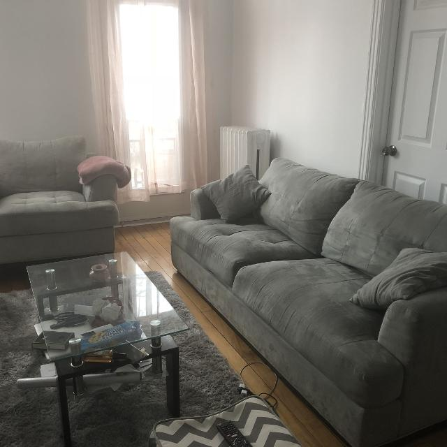 Grey Suede Couch And Chair Sofa Et Chaise Gris
