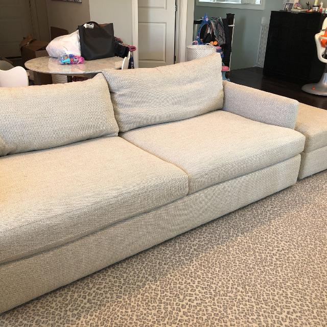 "Crate and barrel lounge 2 93"" Sofa and storage ottoman"