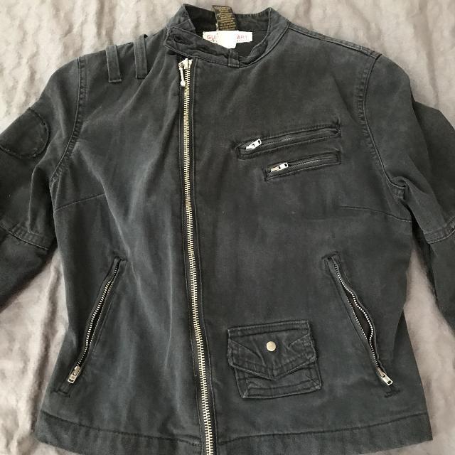 official images best where can i buy Black denim moto jacket