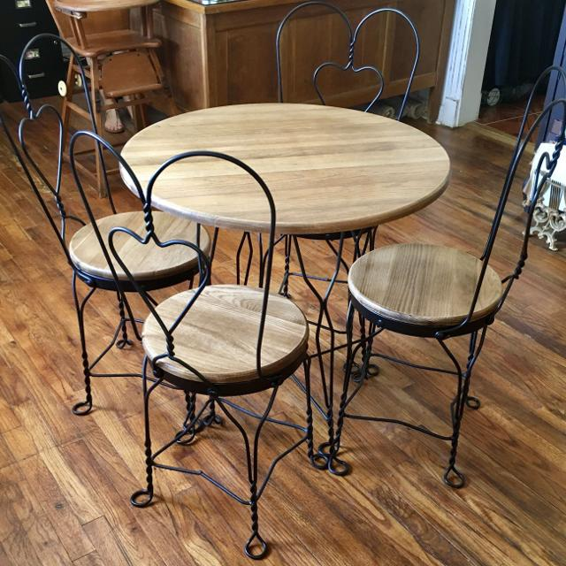 Vintage Ice Cream Parlor Table 4 Chair Bistro Set
