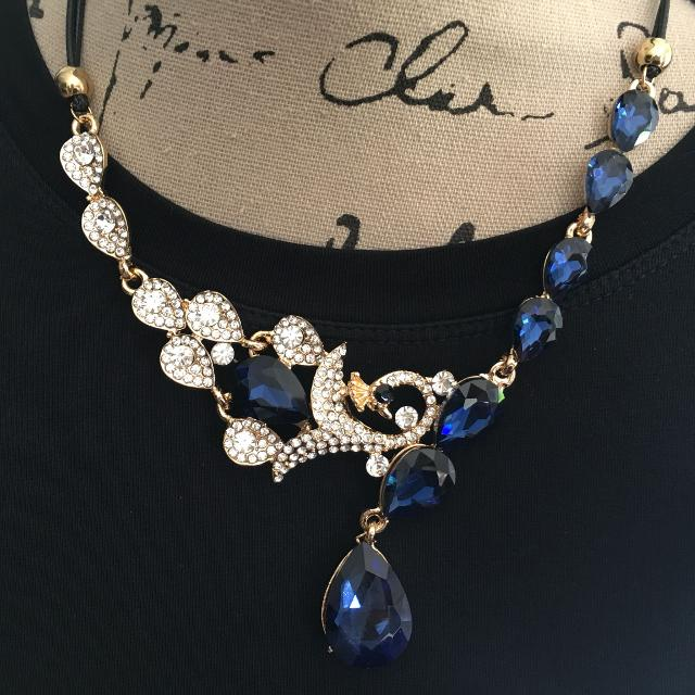 find more new with tags dark blue crystal peacock choker chain