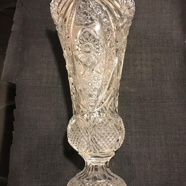 Best Vintage American Pressed Cut Glass Vase For Sale In Wimberley