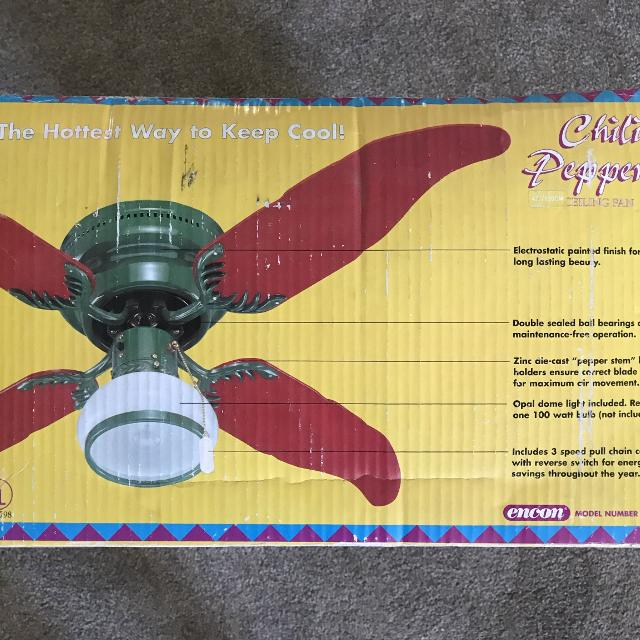 Chile Pepper Ceiling Fan With Light Reduced Again