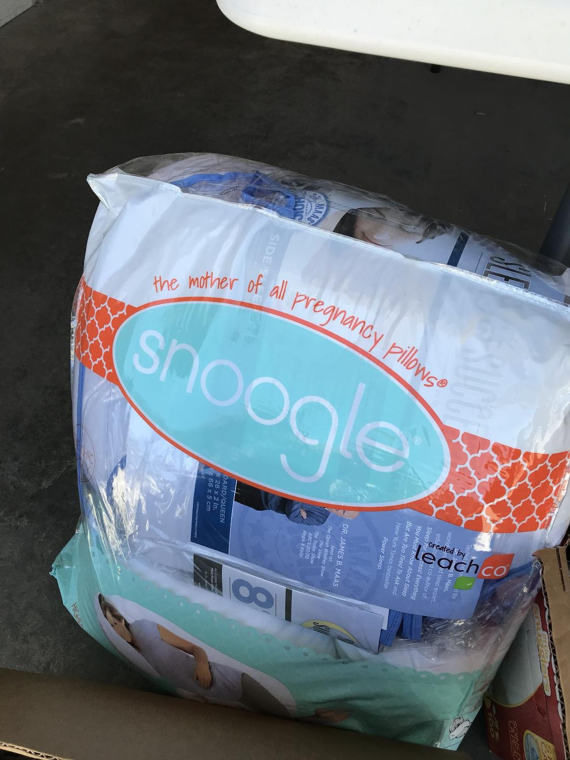 Brand new snoogle pregnancy pillow with washable grey jersey cover