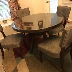 48 Round Wooden Table With Beveled Glass Top 6 Upholstered Chairs 600