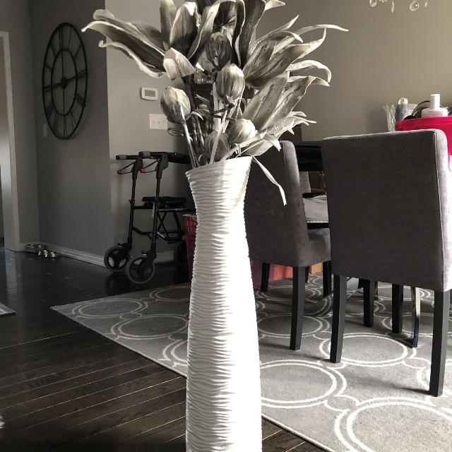 Find More White Funky Vase And Beautiful Gray Flowers For Sale At Up
