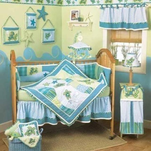 Cocalo Turtle Bay Complete Nursery Bedding And Decor Excellent Condtion