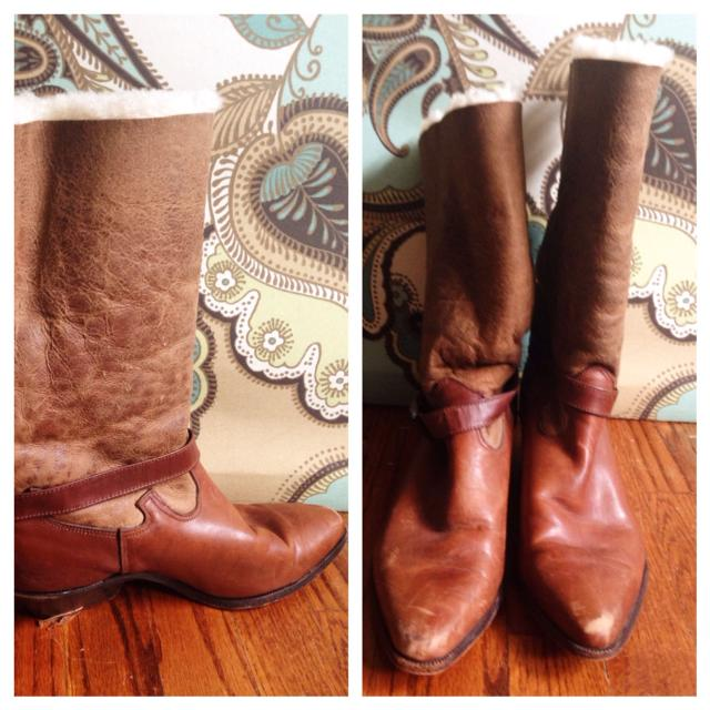 167b8bf57e0 Genuine Leather Vintage Zodiac Cowboy Boots with Wool Lining