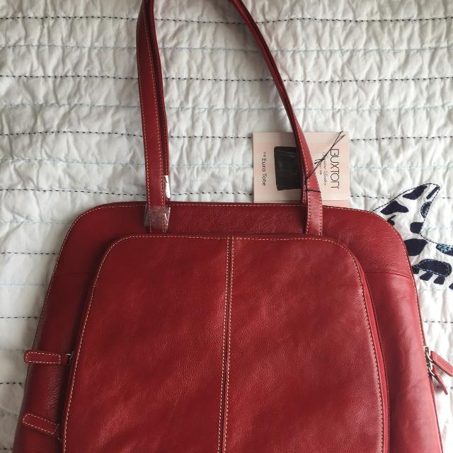 Bnwt Buxton Leather Euro Tote Laptop Bag