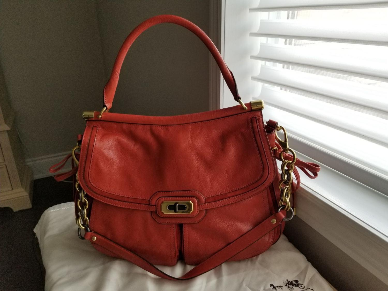 Best Coach Dark Orange Leather Handbag for sale in Markham 8a6d51aa77ffa