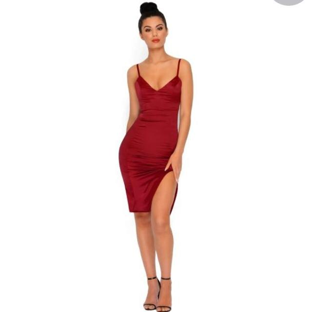"7d1d2dfa144 Find more Nwot! Oh Polly "" Don t Take Sides"" Satin Wine Dress Size 6 ..."