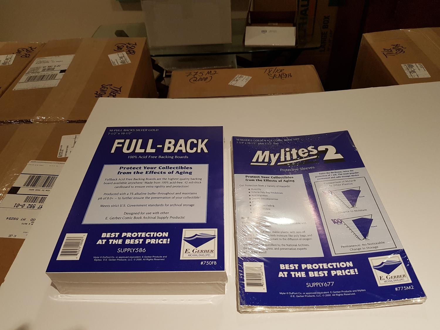 Gerber Mylar bags and boards for Comics