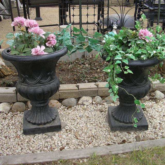 Find More 2 Large Black Urn Planters