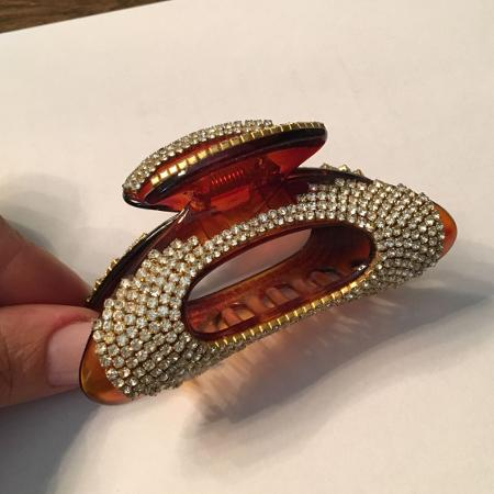 Used, LARGE HONEY BROWN CRYSTAL CLAW HAIR CLIP for sale  Canada