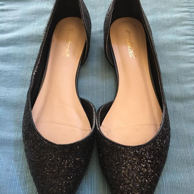 d93b6955a27 Black glitter pointed toe flats size 9.5
