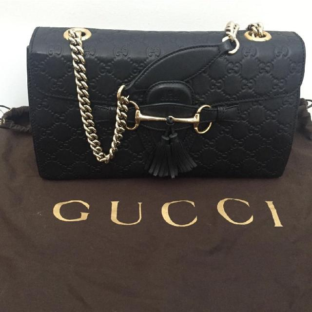 720839d01697 Find more Gucci Emily Guccissima Leather Chain Shoulder Bag Black ...