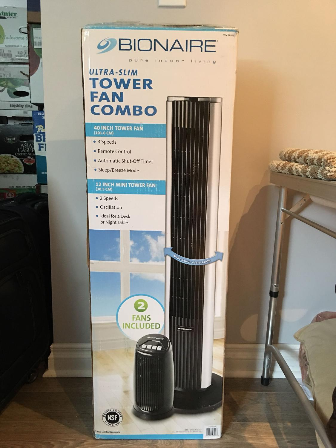 Brand New - Bionaire Ultra Slim Tower Fan Combo